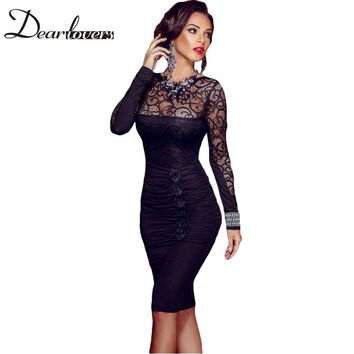 Dear lover Spring Women Pencil Office Dresses 2017 Floral Patchwork Lace Sleeve Bodycon Midi Dress vestido vintage LC60820