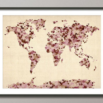 Vintage Style Love Hearts Map of the World Map Art Print on Etsy