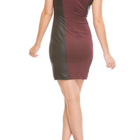 LEATHER BODYCON DRESS - BURGUNDY