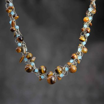 Chunky crochet wiring tigers eye teal glass collar necklace  bridesmaids gifts Free US Shipping handmade anni designs