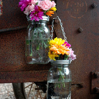 Hanging Mason Jar Flower Vase  or Potpourri Filled Jar With Frog Lids - Set of 2 - Silver Chain