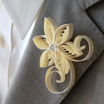 Cream Boutonniere, Cream Buttonhole, Cream Wedding, Blonde Boutonnieres