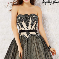 Short Strapless Lace Babydoll Dress by Angela and Allison