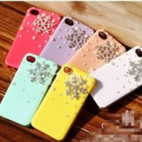 3D Crystal Christmas Snow Snowflake Hard Back Case Cover Pearls for iPhone 4/4s(blue)