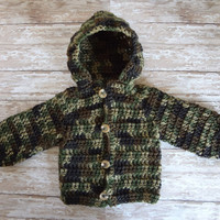 Camo Hooded Baby Sweater.