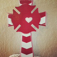 Firefighter Love Chevron Cross
