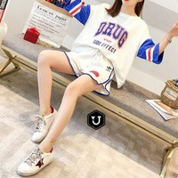 """""""Adidas"""" Fashion Loose Casual Multicolor Letter Numeral Print Short Sleeve Shorts Set Two-Piece Sportswear"""