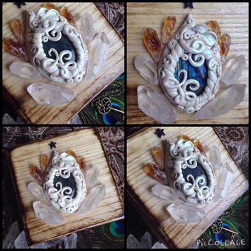Alter Kit Wood Box Crystal Box Fluorite Crystal Skeleton Key Alter Box Crystal Kit Polymer Crystal Pendant Healing Crystals and Stones