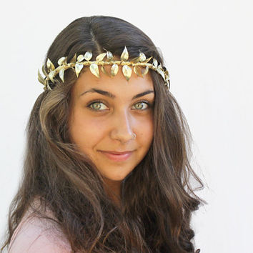 Gold Leaf Vine Crown - Grecian Goddess Myrtle Vine Crown. Headdress, Gold Leaves, Halloween,Toga Costume, Roman, Wedding Crown, Leaf Tiara