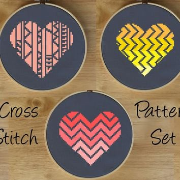 Modern Heart Cross Stitch Kits
