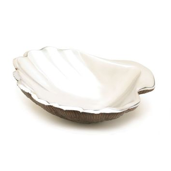 Silver Tone Seashell Decorative Dish
