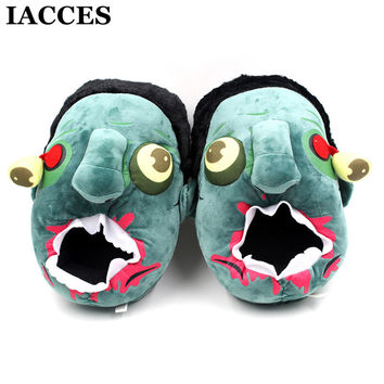Men Women Unisex Plush Zombie Slippers Lovers Cosplay Punk Plush Gift shoes Creative Funny Cartoon House Warm Chinelo pantufa