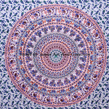 White Indian Elephant Mandala Tapestry hippie Wall Hanging bed Cover Bed Spread, Wall Art,beach Coverlet Hippy Decorated Throw