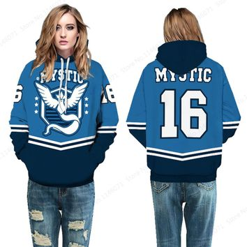 Blue Team Mystic #16 Womens Skateboarding Sweatshirts Pokemon Go Articuno Hoodies Pullover Winter Hooded Jacket Sport Suits