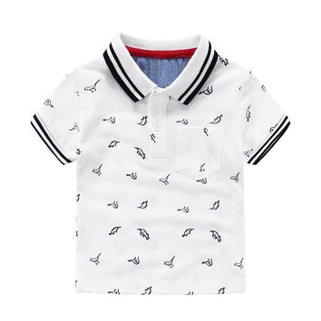 Dinosaur T-shirt Cotton Turn-down Collar Polo