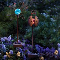 Solar Critters Ladybug & Dragonfly Color-Changing LED Garden Stakes