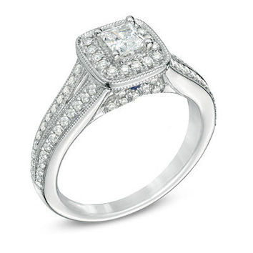Vera Wang LOVE Collection 3/4 CT. T.W. Princess-Cut Diamond Vintage-Style Engagement Ring in 14K White Gold - View All Rings - Zales