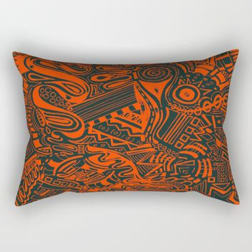 Inky - Orange & Green Rectangular Pillow by DuckyB