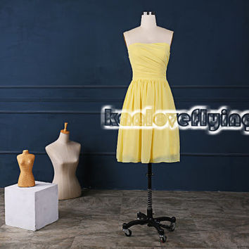 simple short knee length yellow bridesmaid dresses,junior bridesmaid dresses,bridal dress,simple short beach bridesmaid dress side zipper