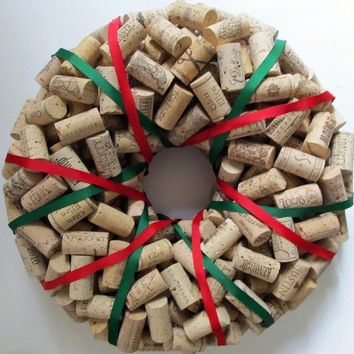 Wine Cork Wreath Wrapped with Red and Green Ribbon - Christmas Holiday Home Decor Gift