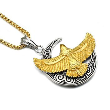Moon Necklaces Titanium Stainless Steel  Eagle Pendants  for Men Jewelry