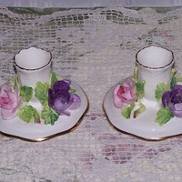 Crown Staffordshire England Fine Bone China Candle Holders Vintage | LilacsNDreams - Collectibles on ArtFire