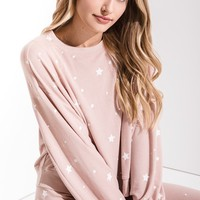 The Lux Star Pullover Crew in Silver Peony by Z Supply