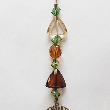 Tree of Life  Rear View Mirror Dangle     Suncatcher  Car Decor  Hemp  wicca
