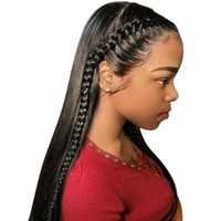 360 Lace Frontal Wigs 150% Pre Plucked Brazilian Remy Straight Lace Front Human Hair Wigs With Bleached Knots With Full End