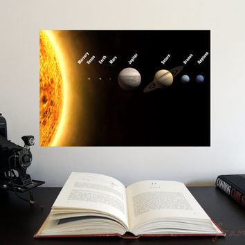 "The Solar System panorama 19"" x 13"" Poster - Science Astronomy Wall Art Print- Window on the Universe series for classroom or playroom decor"