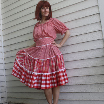 Vintage Red Gingham Dress County Rockabilly Square Dance L