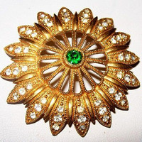 "Antique Edwardian Brooch Pin Green & Clear Ice Rhinestones Gold Metal Filigree 2"" Vintage"