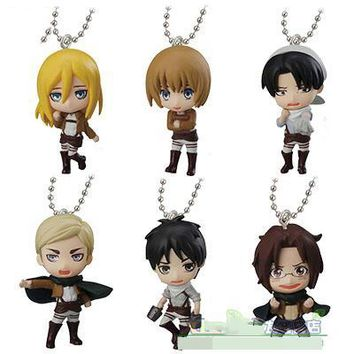 Cool Attack on Titan Japanese anime  swing collection 2 capsule toy  Eren Jaeger Erwin Smith Levi Ackerman Zoe Lenz figure keychain AT_90_11