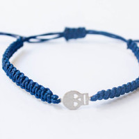 Small Skull Friendship Bracelet Navy Blue Adjustable