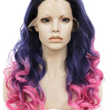Dark Purple To Pink Ombre Deep Wavy Bob Synthetic Lace Front Wig
