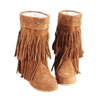 Causal Tassels and Studs Design Women's Boots