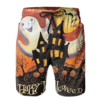 Happy Halloween Spooky Cute Poster Mens Fashion Casual Beach Shorts