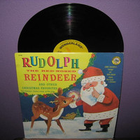 Vintage Vinyl Record Rudolph The RedNosed by JustCoolRecords