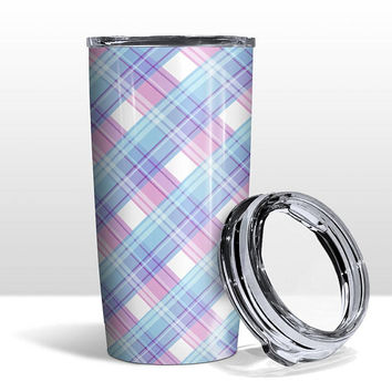 Pink Blue Purple Plaid Tumbler Cup - Plaid Pattern 20oz Insulated with Clear Lid - Hot or Cold - Made to Order