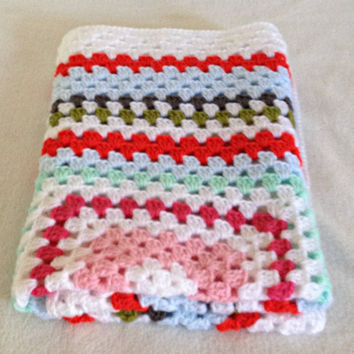 Crochet granny square baby blanket, colourful lap afghan blanket, knit baby blanket, baby blankets crochet, coverlet, security blanket