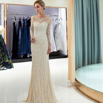 Beaded Evening Dresses Champagne Mermaid Crystal Sweep Train Long Sleeves Gray Sheer Neck Prom Formal Party Gown