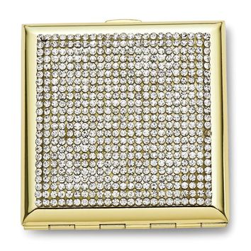 Gold-tone Clear Crystals Compact Mirror