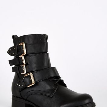 Strap Buckle Lace Up Biker Boots