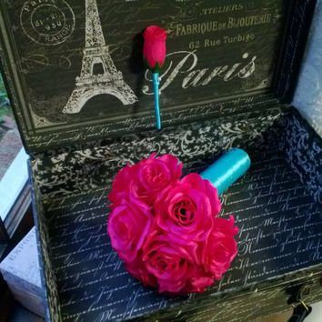 Silk Hot Pink Rose Wedding Bouquet with matching Boutonniere