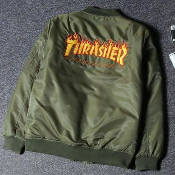 Thrasher Fashion Flame Zipper Cardigan Jacket Coat  Windbreaker