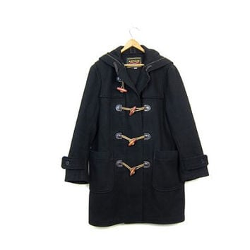 Vintage Wool Toggle Coat Hooded Navy Blue Duffel Coat Winter Coat Wooden Toggles Classic British Preppy Coat Womens Large