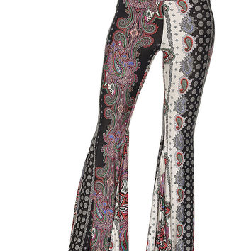 Black/Red Paisley Print Flare Pants