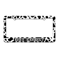 Got Cows - Animals - License Plate Tag Frame - Cow Spots Print Design