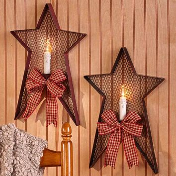 Country Star Wall Sconce with LED Flameless Candle Metal Red or Black Rustic