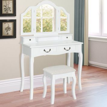 Best Choice Products Tri-Mirror Vanity Table Set W/ Stool Bedroom Home Furniture- White - Walmart.com